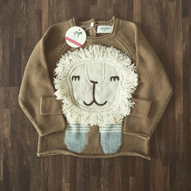 Дети вязаный свитер весна осень зима мальчики дети лев мультфильм свитер мода личности милый 100% хлопок свитер