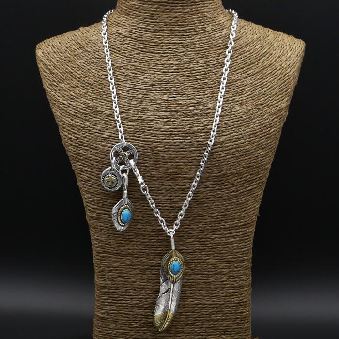 47 2g Real Solid 925 Sterling Silver Long Pendant Necklace Men Women Blue Natural Stone Vintage