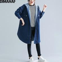 DIMANAF Plus Size Women Jackets Coats Casual Solid Demin Aut