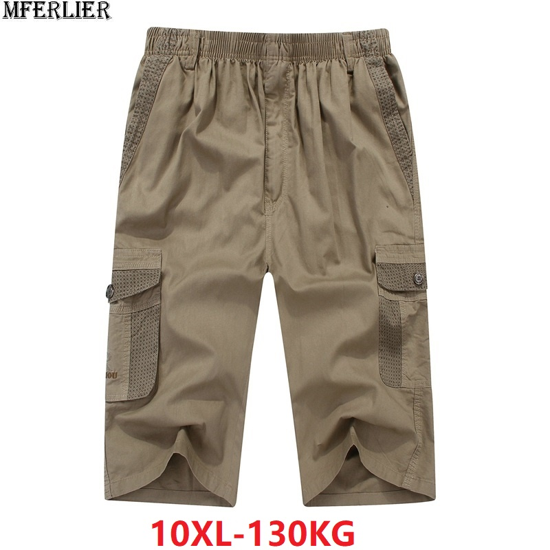 MFERLIER Cargo-Shorts Pocket 10XL Safari-Style Plus-Size Cotton Summer 9XL 8XL Men's