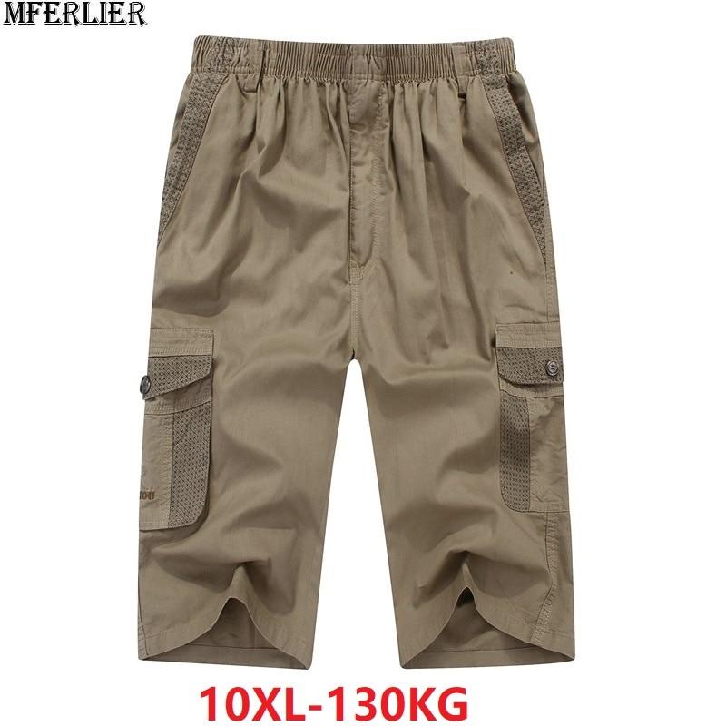 MFERLIER Summer Men's Casual Cargo Shorts Pocket Cotton Plus Size Big 9XL 10XL 8XL Men Safari Style Large Shorts Khaki 44 46 48