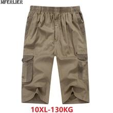 MFERLIER summer men s casual cargo Shorts pocket cotton plus size Big 9XL 10XL 8XL men