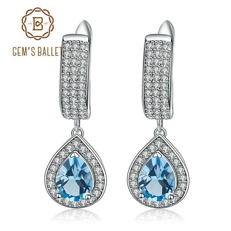 GEM S BALLET 2 64ct Natural Swiss Blue Topaz Drop Earrings For Women Genuine 925 Sterling