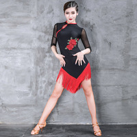 Latin Dance Dress Black Flower Embroidery Cheongsam New Professional Women Competition Performance Dresses Tango Salsa