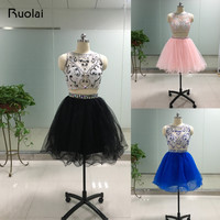 High Quality Real picture Scoop Mini Skirt Above Knee Crystal Cocktail dresses Short Prom Dress 2019 Prom Party Dresses FC15