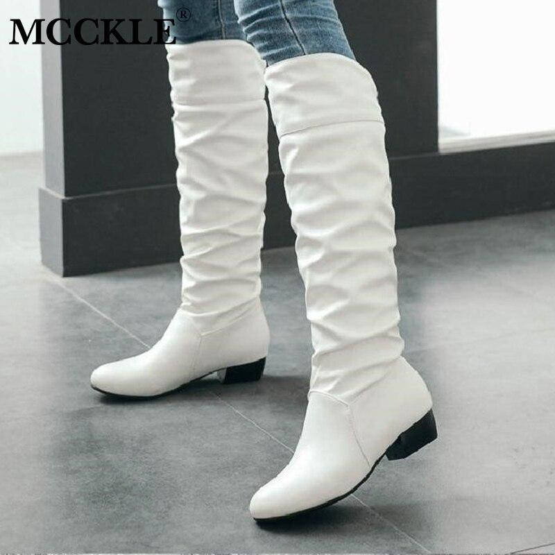 MCCKLE Plus Size Mulheres Outono Na Altura Do Joelho Botas De Cano Alto Salto Baixo Duas Maneiras Sapatos Dobrar Deslizamento Em Calçados Casuais Calcanhar Quadrado botas femininas