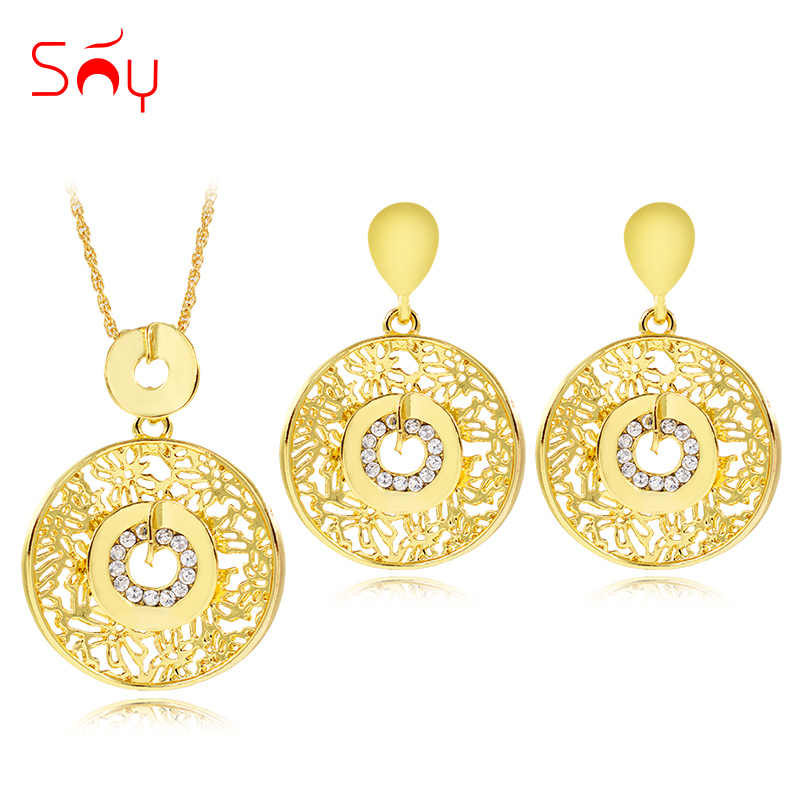Sunny Jewelry Classic Round Jewelry Sets For Women Earrings Pendant Necklace Zircon Flower Jewelry Sets For Wedding Engagement