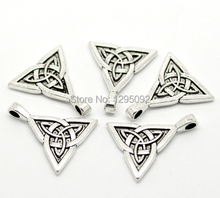 50Pcs Free shipping Wholesales Hot New DIY Silver Tone Celtic Knot Triquetra Charms Pendants Jewelry Findings Component 28x24mm