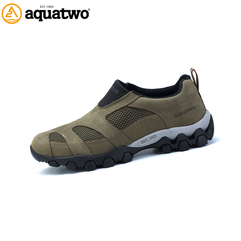 AQUA TWO Outdoor Men Sports Hiking Shoes Genuine Leather Walking Sneakers Athletic Trekking Breathable Shoes Size39-48 HDS102269 peak sport speed eagle v men basketball shoes cushion 3 revolve tech sneakers breathable damping wear athletic boots eur 40 50