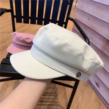 Fashion Winter Hats for Women Simulation Leather Cap Autumn Women's Hat White Flat Top Women Military Hat Pink Suede Caps siloqin middle aged men s army military hats with ears autumn winter cowhide earmuffs flat cap leather caps genuine leather hat