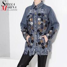 New 2017 European Stylish Women Vintage Denim Jacket Retro Denim Coat Long-Sleeved Ripped Holes Style Sequins Jeans Jacket 1665