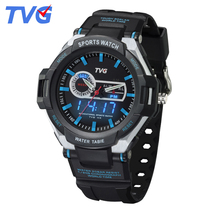 TVG Brand Analog Digital Display Wristwatch children sports cartoon LED watch electronic alarm clock waterproof for kids gift