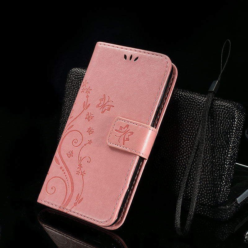 for Sony Xperia E5 Case Wallet Leather Stand Flip Phone Cases Cover for Sony Xperia E 5 with Butterfly & Flower Pattern - Pink
