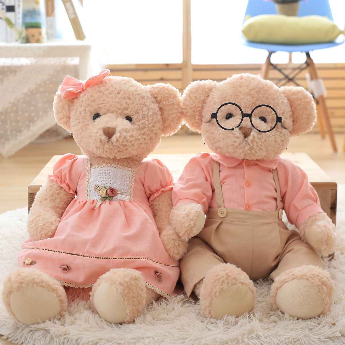 Super Kawaii 1pcs Big Size 65cm Couple Teddy Bear Stuffed & Plush Toy Doll Cute Soft Wedding Bear Dolls Girls Birthday Gifts kawaii big stuffed