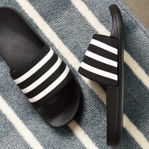 Image 3 - ASIFN Mens Slippers EVA Men Shoes Women Couple Flip Flops Soft Black White Stripes Casual Summer Male Chaussures Femme Slides