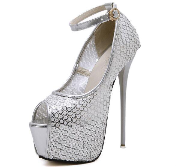 Size 4 9 Silver Autumn font b Women b font Shoes Peep Toe 16cm High Heels