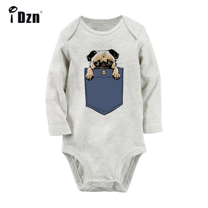Retro Vintage Cute Dog Rigby Flower Cute Pug Dog In My Pocket Design Newborn Baby Bodysuit Toddler Onsies Jumpsuit Clothes
