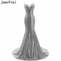 JaneVini блестящее вечернее платье с пайетками, длинный Русалочий силуэт, с бретельками, аппликациями, открытой спиной, Сексуальное Серебряное