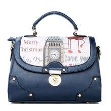 Retro England Style Imported PU Handbag Fashion Printing Women Shoulder Bag Ladies Cheap Korean Trend Sweet Shoulder Bag