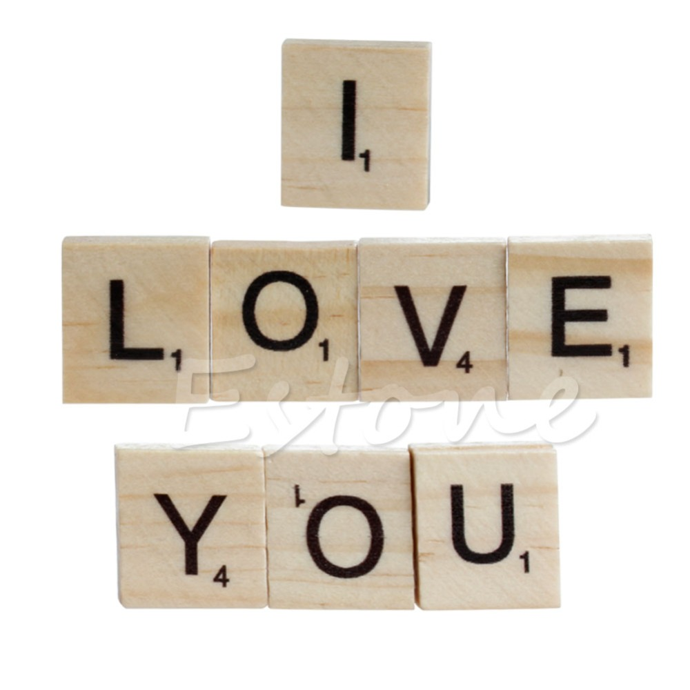 Hot 100 Wooden Alphabet Scrabble Tiles Black Letters & Numbers For Crafts Wood ...