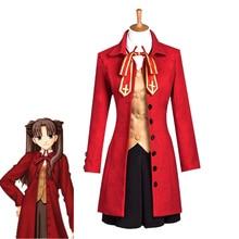 Hot Game Fate Stay Night Tohsaka Rin Cosplay Costume Janpanese High School Uniforms Halloween Carnival Red Dress Custom Made