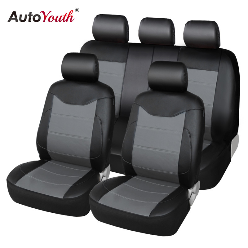 AUTOYOUTH PU Leather Car Seat Covers Universal Full Synthetic Set Full Automobile Seat Covers Automobile Seat Covers Protector