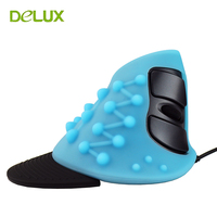 Set Wired Ergonomic Vertical Mouse USB Original Delux M618 Optical Right Hand Upright Healthy Mice For