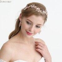 Dower me Charming Rose Gold Bridal Flower Leaf Headpiece Pearl Wedding Tiara Headband Women Prom Hair Accessories Piece