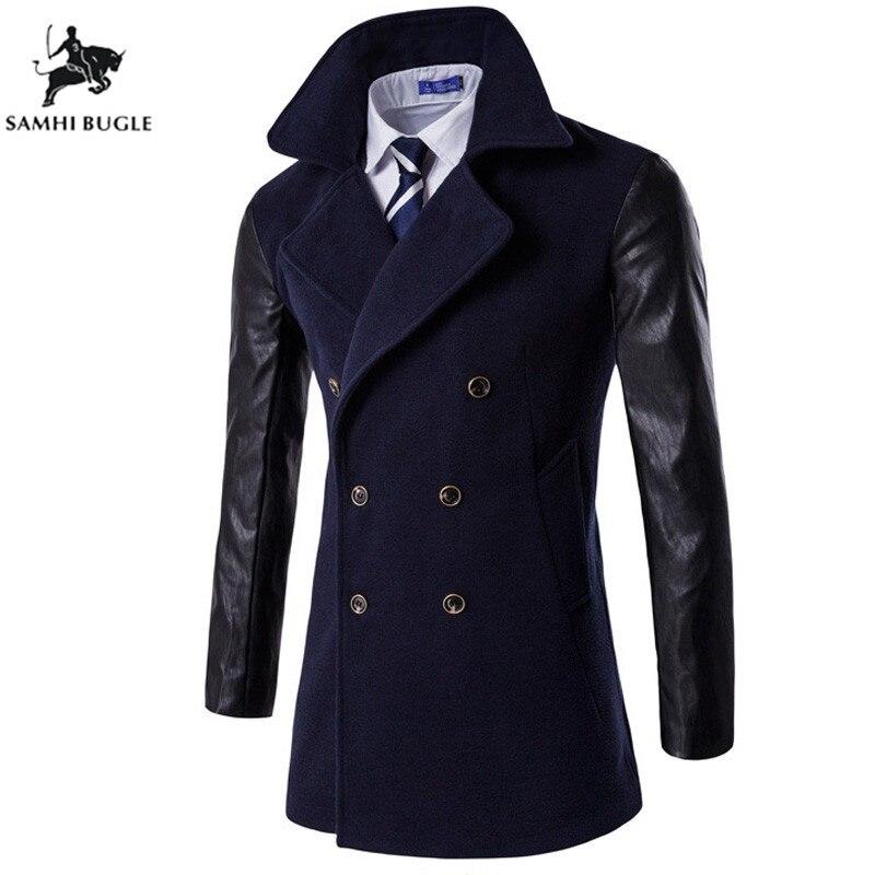 Pas cher Hommes trench-coat Mode Laine Longue Hommes de manteau, Hiver trench-coat Hommes, Gabardinas Para Hombre
