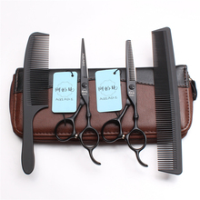 4Pcs/Set A9030 6 Professional Hairdressing Human Hair Scissors Japan Steel 440C Combs + Cutting Shears Thinning