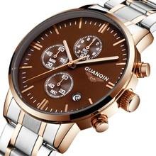 Original Men Watches Brand GUANQIN Relogio Masculino Luxury Steel Quartz Watch Sport Luminous Hands Waterproof Wrist watch