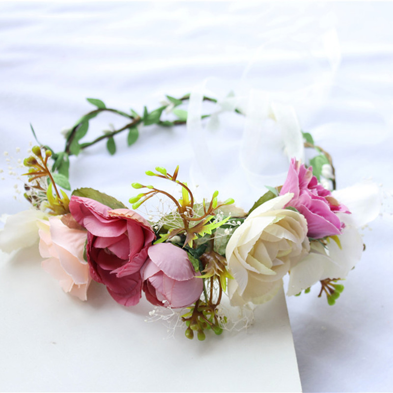Wedding Floral Crown Head Band Floral Head Wreath Women Flower Headband Bridesmaid Bridal Headpiece Girls Flower Crown