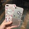 I6/6 s Мультфильм Hello kitty Шелка ТПУ мягкий чехол рамка для iphone 6 6 S 7 плюс розовый цвет телефон задняя крышка крышка