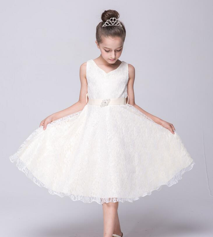 Teen Girls tulle bridesmaid Flower Girl Lace Dress Birthday Evening Wedding Party Dresses kids frock designs 8 10 12 14 16 Years 2016 baby girl flutter sleeves summer birthday princess dress cotton frock designs teen kids clothing bulk clothes teenagers