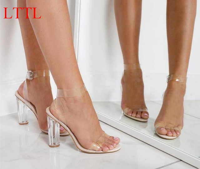 0eaff89dc80 LTTL Kim Kardashian PVC Women Sandals Clear Transparent Ankle Strap High  Heel Party Sandals Women Shoes DHL Free Shipping