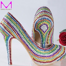 Women Wedding Shoes Platform Pump Sexy Thin Handmade Heels Rainbow Crystal Bridal High Heel Shoes Graduation Party Prom Shoes