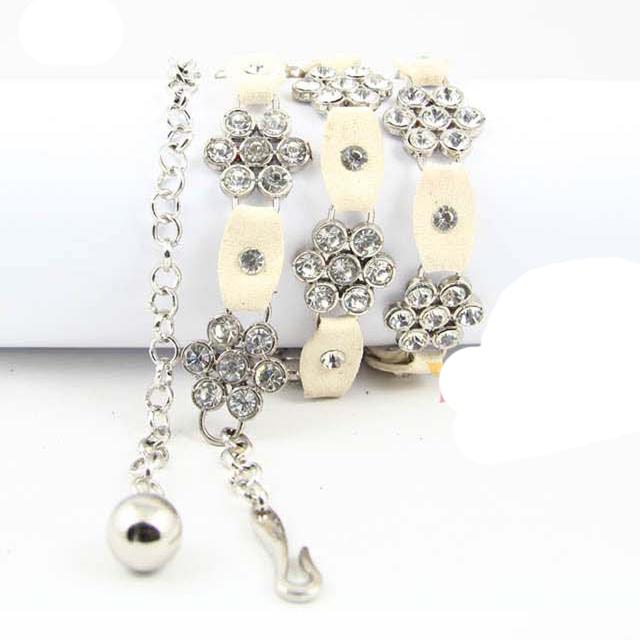 Moda Flor de Strass de Metal Cadeia de Cintura Doce Cor Pingentes Acessórios Cintos de Couro Genuíno Cinto Fino Mulheres Vestido De Luxo