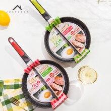 Justcook 20 CM Frühstück Pfanne Antihaft 2 in 1 Pfanne Nicht Rauch Unterteilt Grill Für Spiegeleier und Speck