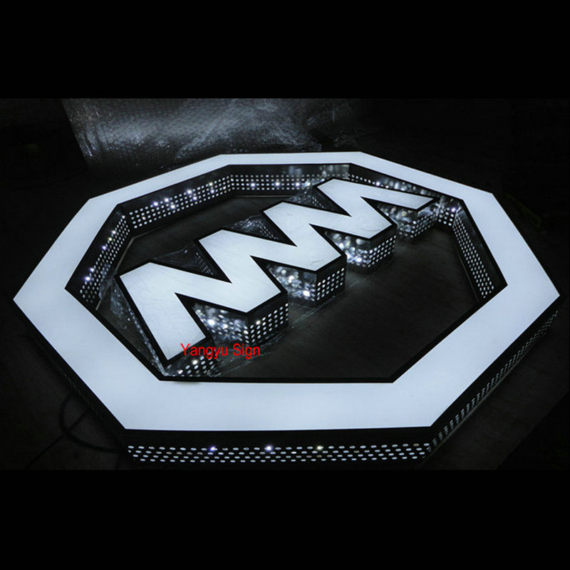 Outdoor custom led illuminated perforated fronlit Alphabet letters shop name sign board