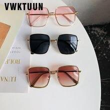 Vwktuun óculos de sol feminino quadrado, grande, para mulheres, armação de metal, uv400, lente degradê