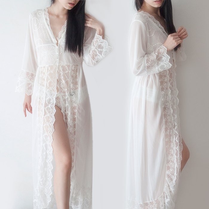 Fairy white transparent lace ultra long cardigan female long ...