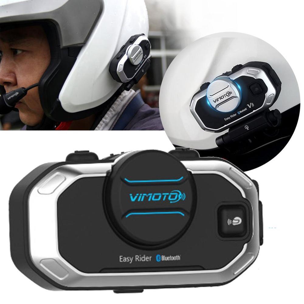 Английская версия Easy Rider vimoto V8 шлем Bluetooth гарнитура мотоцикл стерео наушники для мобильного телефона и gps 2 способ радио