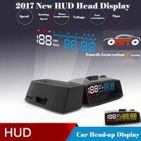 2017 4F Headup Ekran HUD Araba Projektör OBD II EOBD Sistemi Manuel Anahtarı ile RPM Hız Yakıt Tüketimi Baş Yukarı Ekran Araba