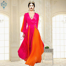 Ameision HIGH QUALITY Newest 2019 Designer Runway Maxi Dresses Womens Lantern Sleeve Charming Color Block Pleated Long Dress