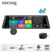 zuczug 10 Touch Screen Rearview Mirror Car DVR Camera 4G wifi ADAS Android GPS Navigator Dual Full HD Front And Rear Cam