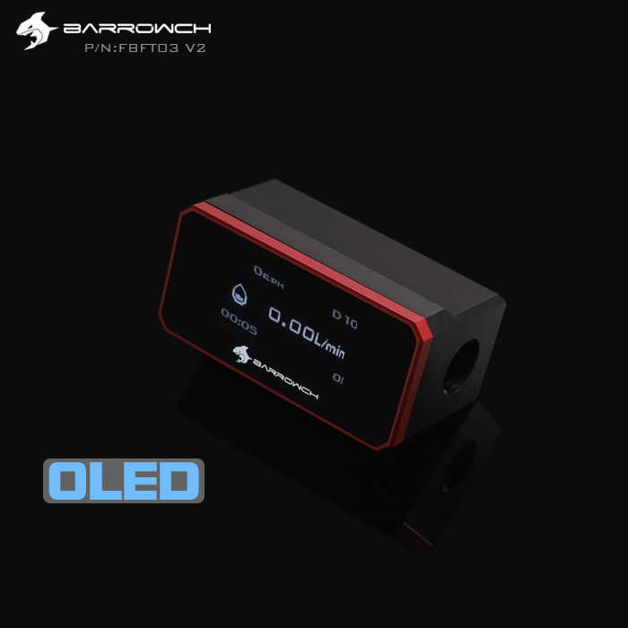 BARROW OLED จอแสดงผลน้ำไหลเมตร Cooler ระบบ G1/4 ''Flow Sensor Fitting