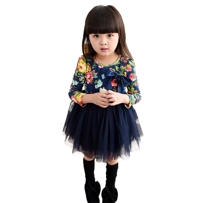 ⑦New autumn baby girls flower tutu dress fashion long sleeve girl ...
