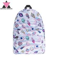 Wholikes Мода 2017 г. милые Холо 3D принт женщин досуг рюкзак подростков школа мешок Sacs à DOS для подростков Meninas