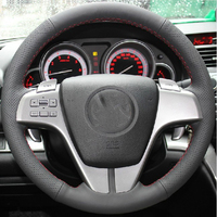 Free Shipping High Quality cowhide Top Layer Leather handmade Sewing Steering wheel covers protect For Mazda 6