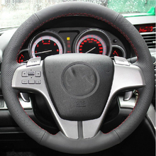 hot deal buy free shipping high quality cowhide top layer leather handmade sewing steering wheel covers protect for mazda 6